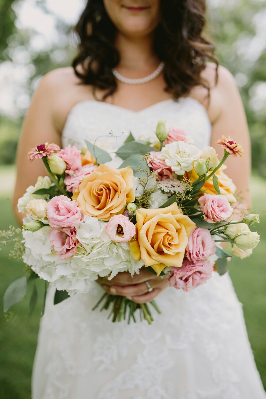 Pink and Caramel Bridal Bouquet - Country Wedding Flowers