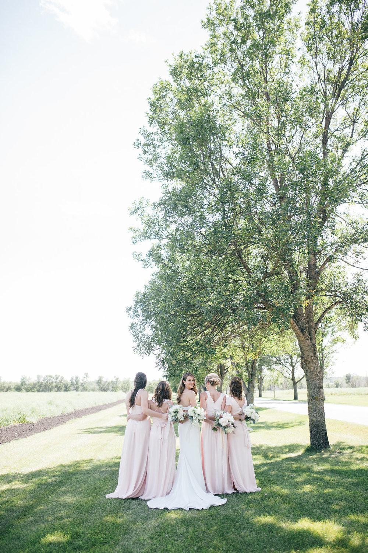 Long Blush Bridesmaid Dresses - Wedding Flowers winnipeg