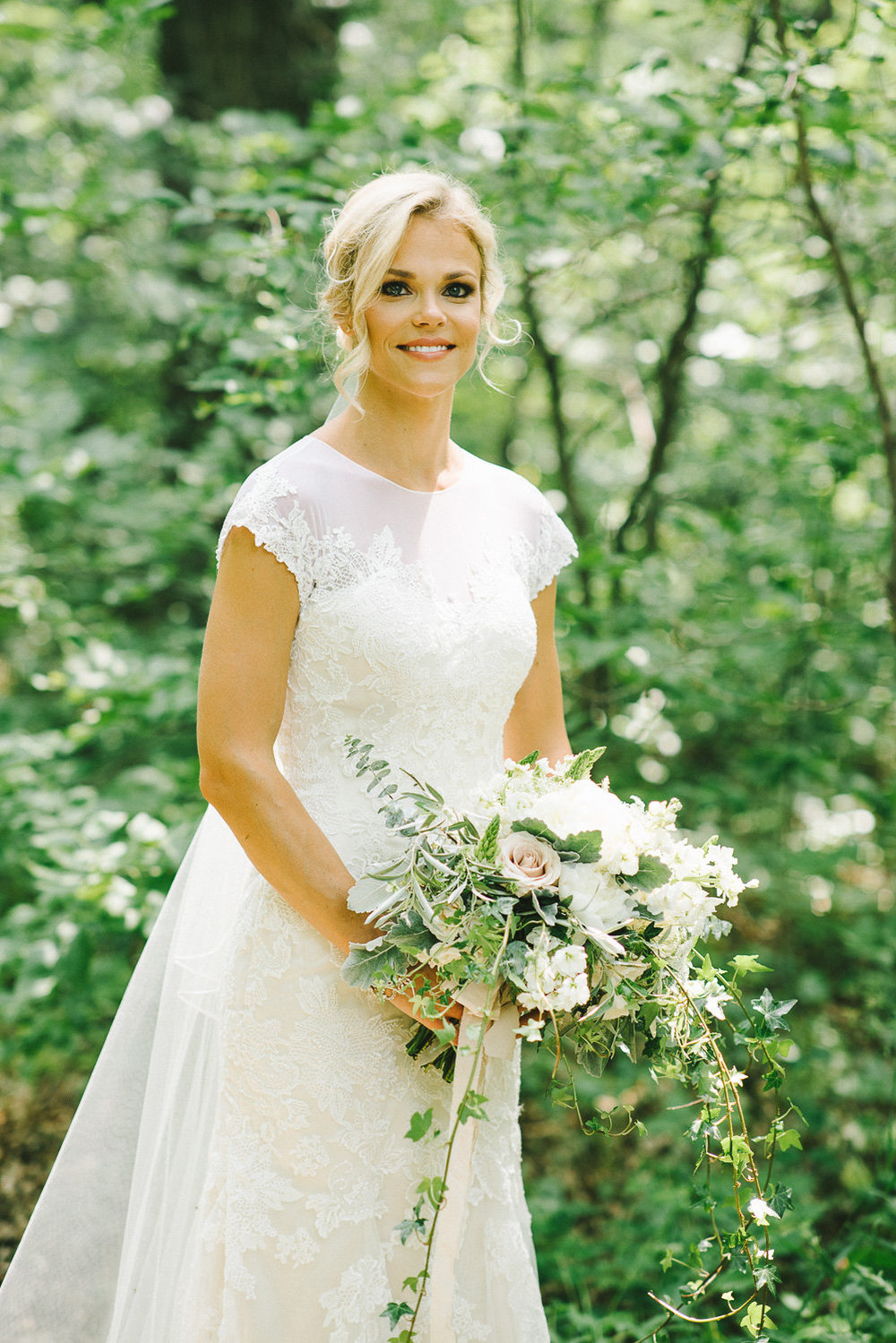 White Cascading Bridal Bouquet - Winnipeg Wedding Flowers