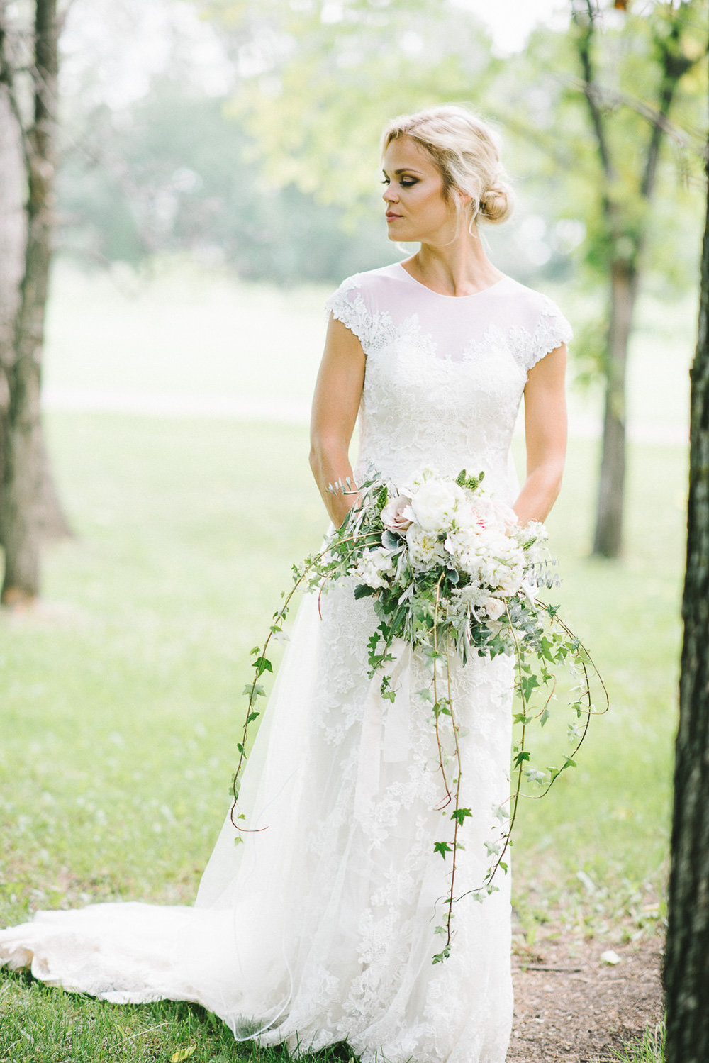 White Cascading Bridal Bouquet - Stone House Creative