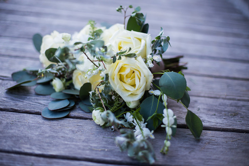 White Rose Wedding Bouquet - Stone House Creative