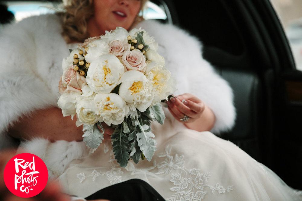 White Peony Bridal Bouquet - Winter Weddings in Winnipeg
