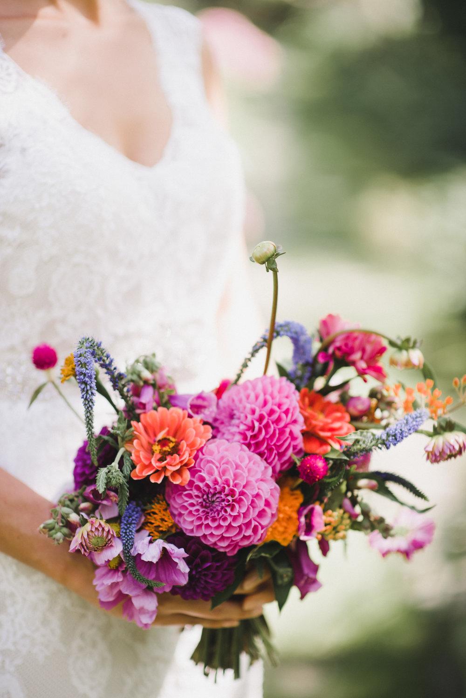 Dahlias and Zinnias Bridal Bouquet - Stone House Creative