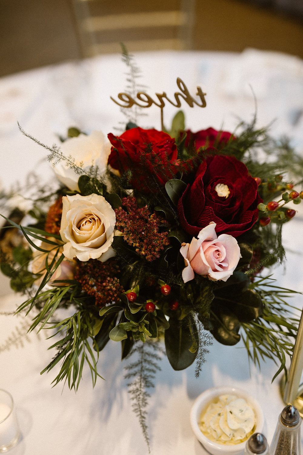 Burgundy Wedding Centrepieces - Stone House Creative
