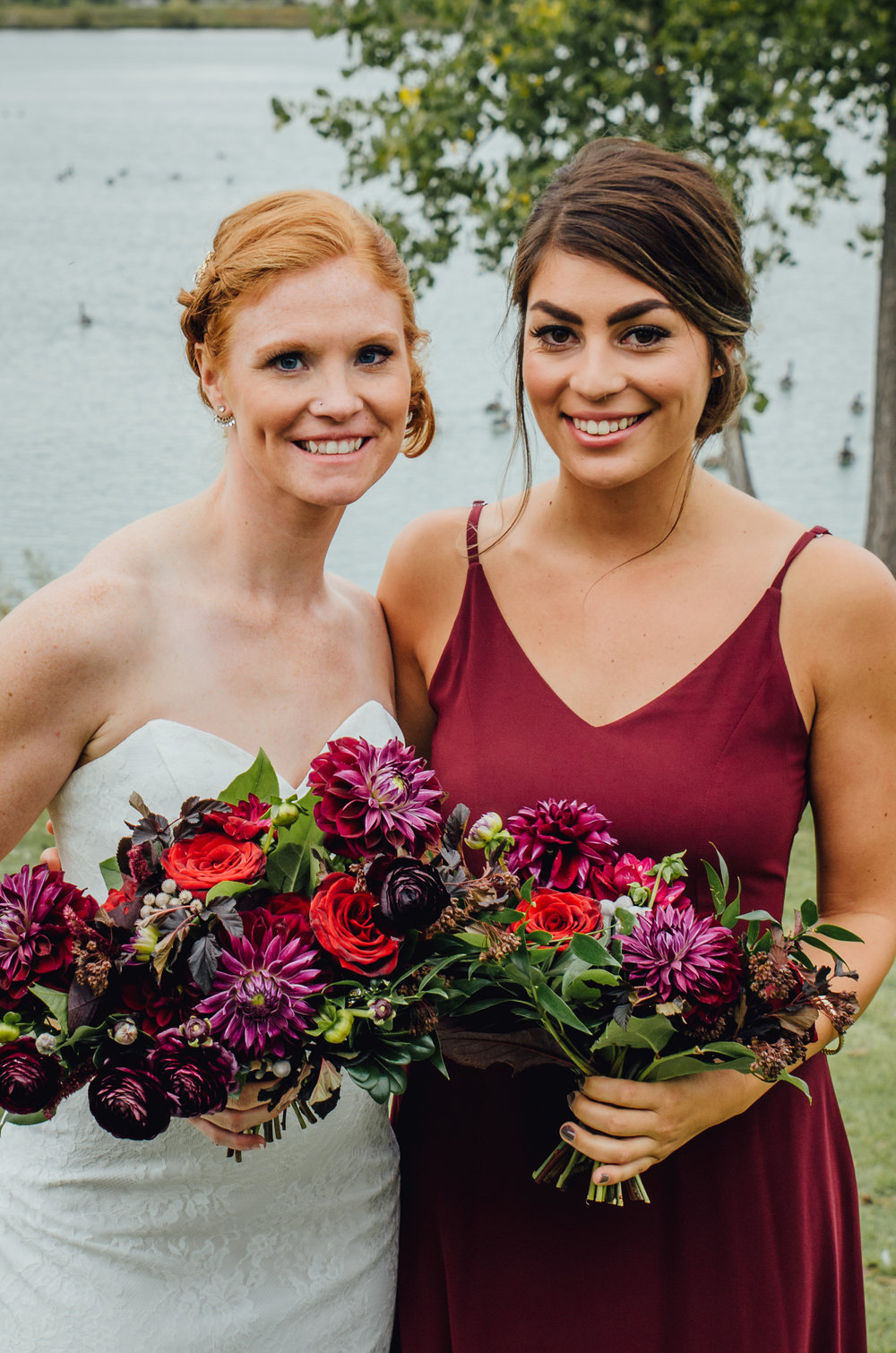 Burgundy Bridesmaid Dress - Winnipeg Wedding Flowers