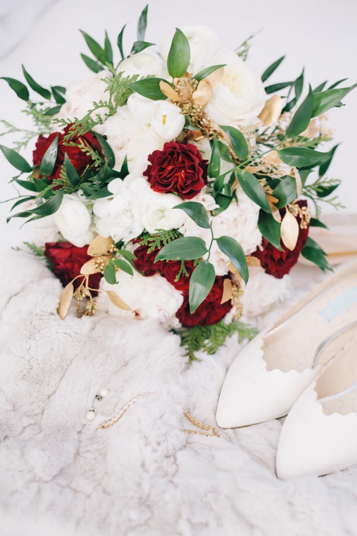 Winter Wedding Bouquet - Red Garden Rose Bouquet