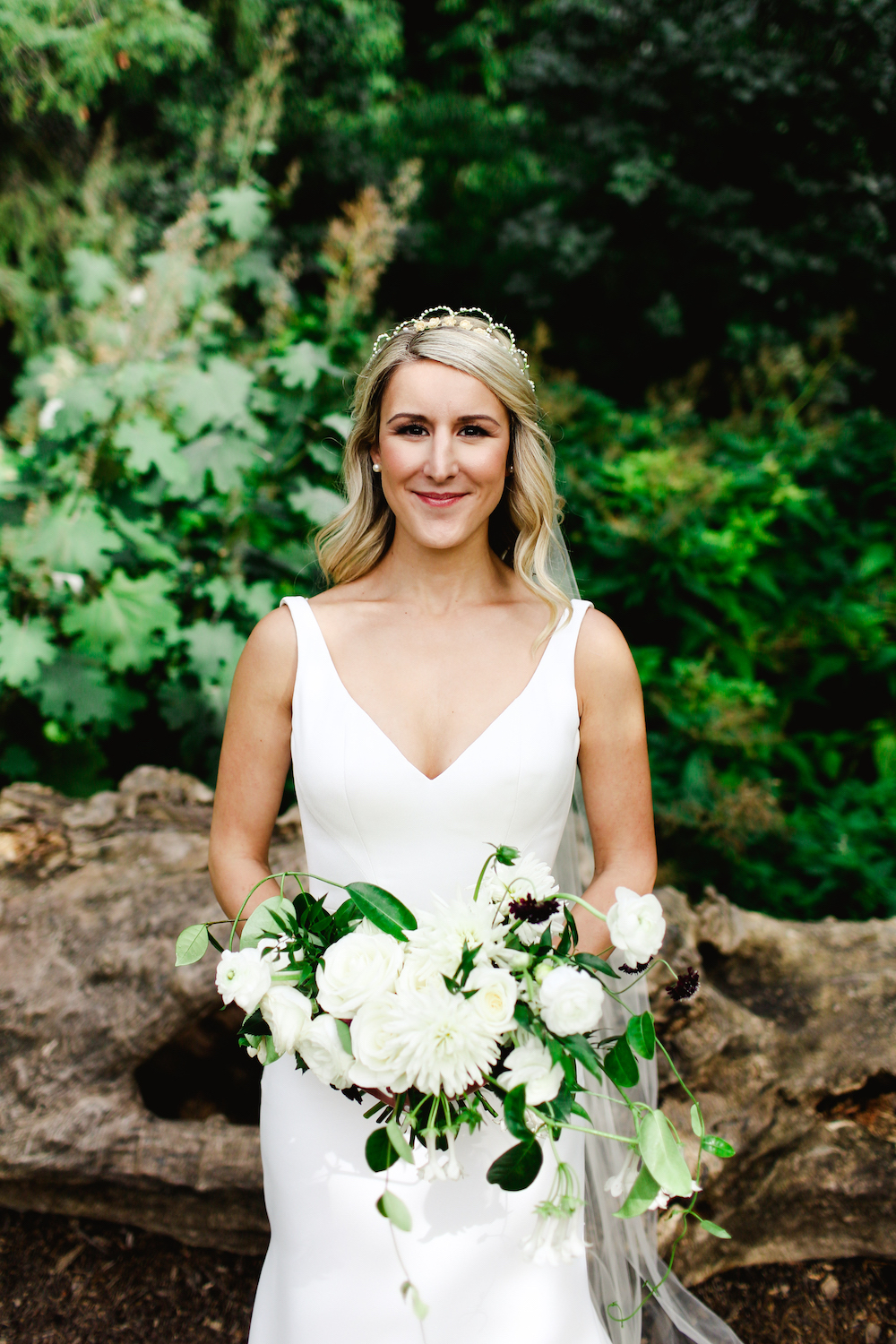 White and Green Bridal Bouquet - Stone House Creative