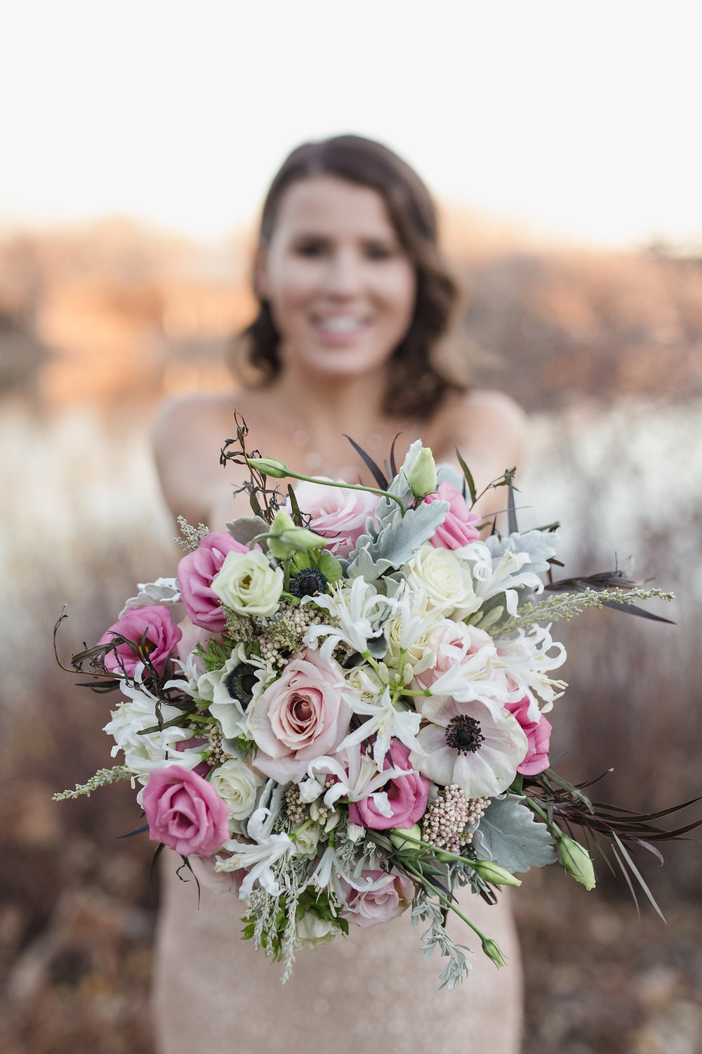 Textured Pink and White Bridal Bouquet - Stone House Creative