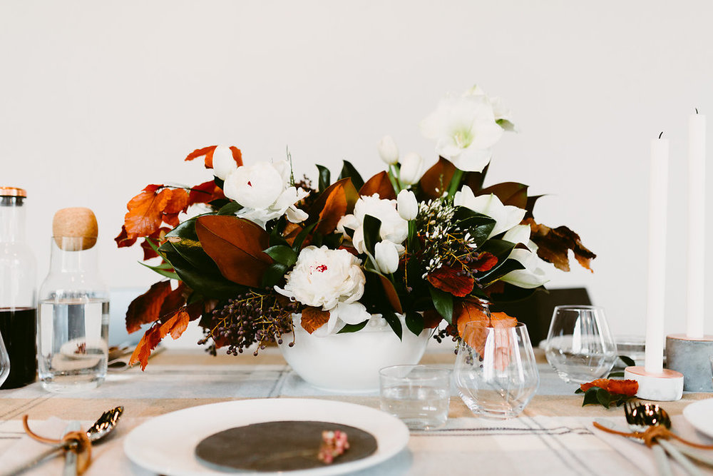 White and Copper Winter Wedding Flowers - Stone House Creative
