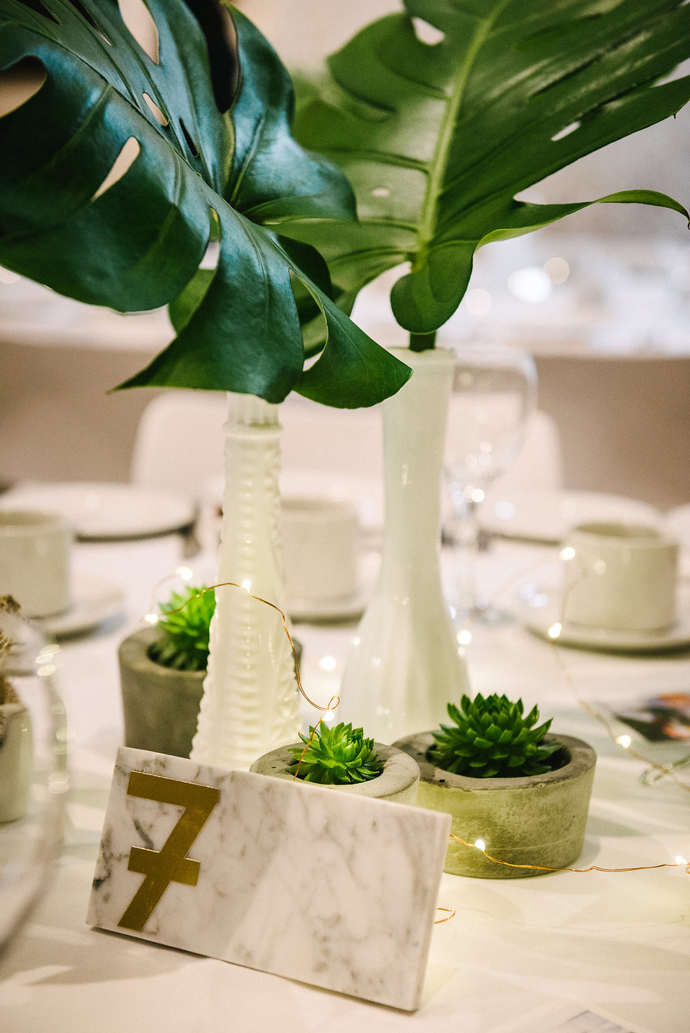 White and Green Modern Wedding Decor - Wedding Florists Winnipeg