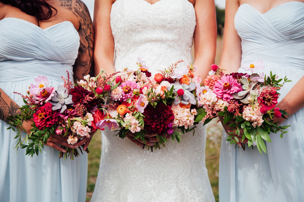 Peach and Burgundy Wedding Flowers - Stone House Creative
