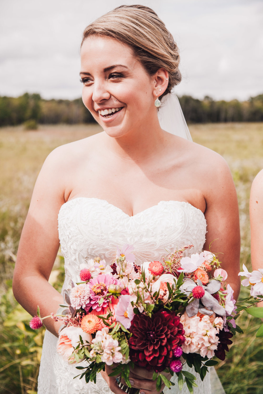 Peach and Burgundy Bridal Bouquet - Wedding Florist in Winnipeg