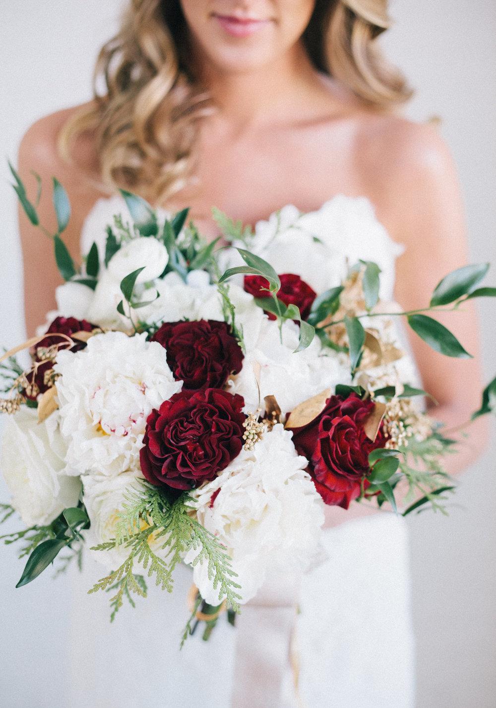 White and Red Winter Wedding Flowers - Winnipeg Wedding Florist