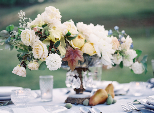White and Caramel Wedding Flower Centrepiece - Stone house Creative
