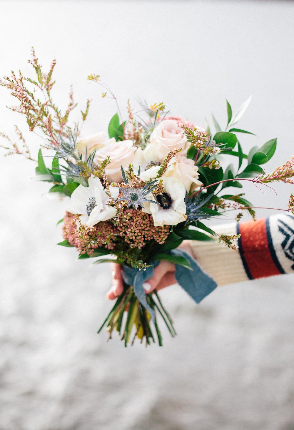 Blush and Light Blue Wedding Flowers - Stone House Creative