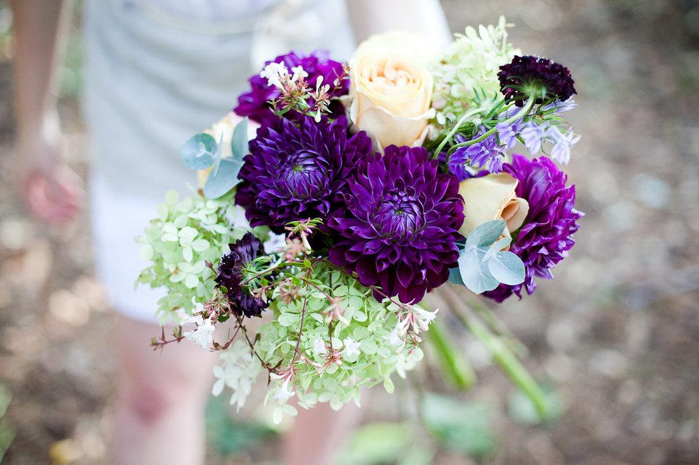 Purple Dahlia Bouquet - Wedding Flowers in Winnipeg