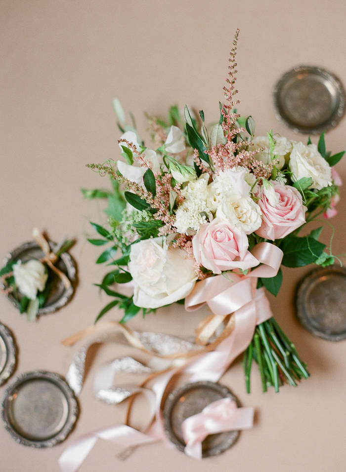 Blush and White Wedding Bouquet - Stone House Creative