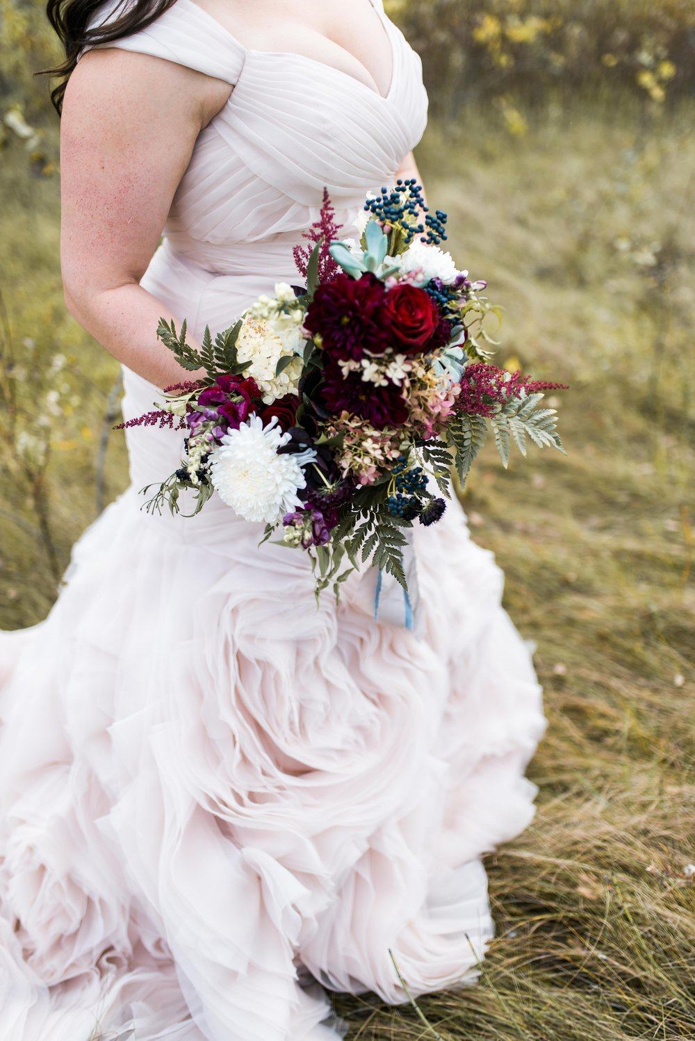 Textured Burgundy Bridal Bouquet - Stone House Creative