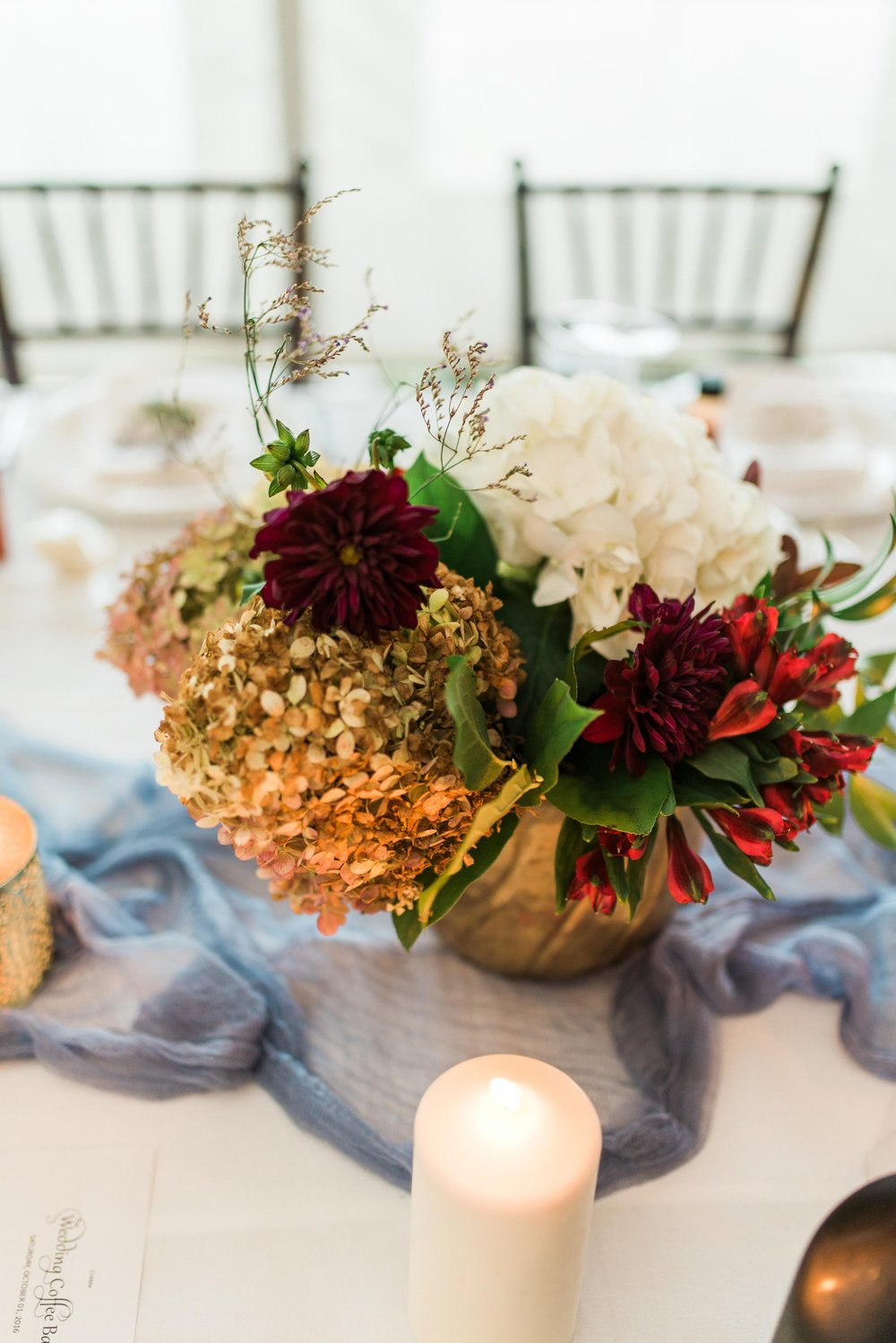 Antique Hydrangea Centrepiece - Wedding Florists in Winnipeg