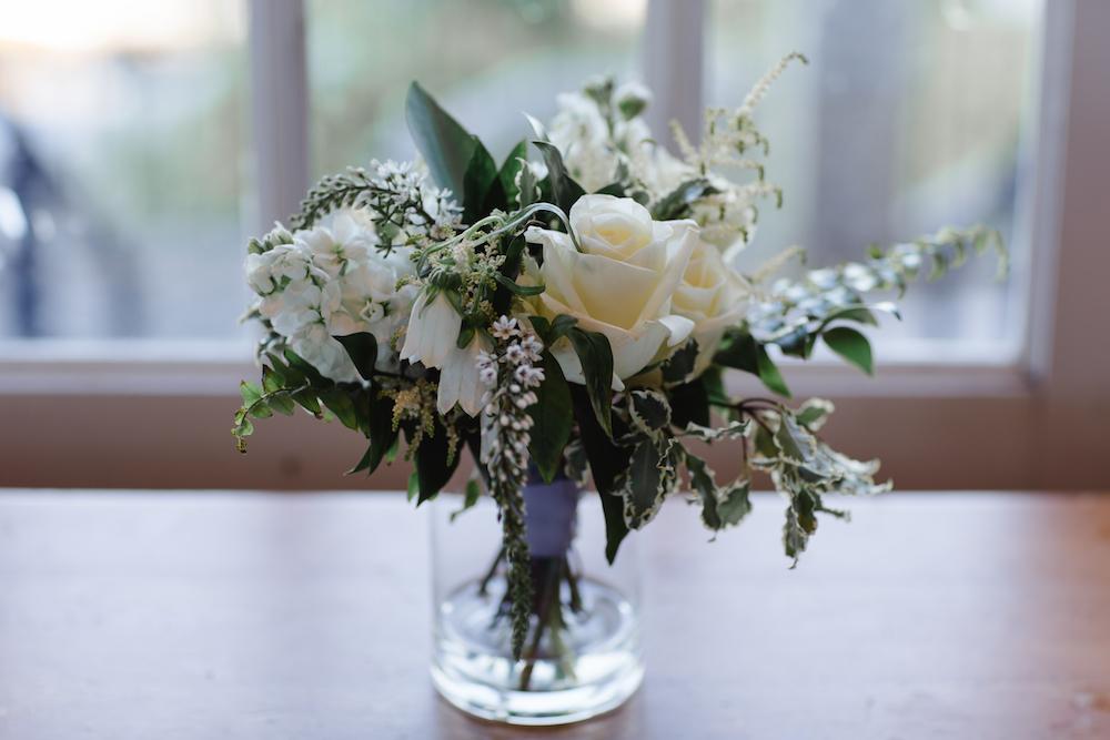 White and green Bridesmaid Bouquet - Wedding Florist in Winnipeg