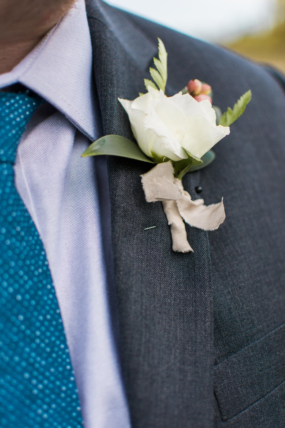 Lisianthus Boutonniere - White Wedding Flowers