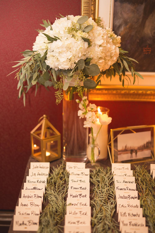 Winter Greenery Escort Card Display - Wedding Florists Winnipeg