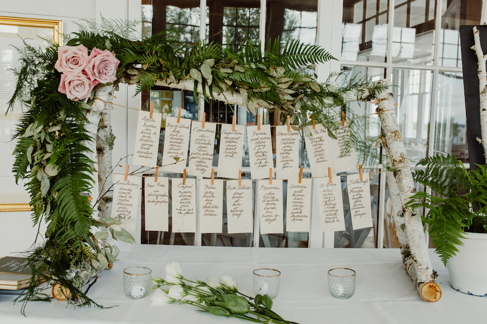 Birch Pole Seating Chart - Rustic Wedding Decor