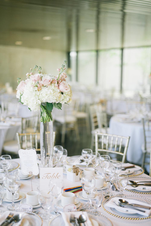 Tall Blush Wedding Centrepiece - Winnipeg Art Gallery Wedding