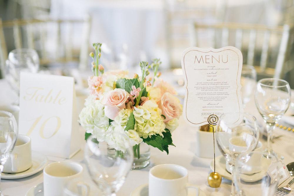 White and Pink Wedding Centrepiece - Winnipeg Wedding Florist