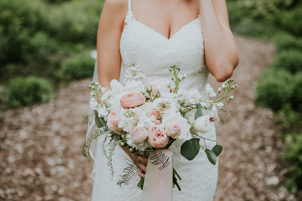 Organic Pink and White Bridal Bouquet - Wedding Florist in Winnipeg