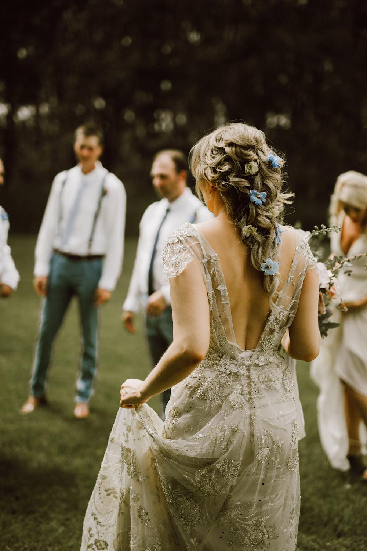 Whimsical Bridal Hair Flowers - Flowers in Braid