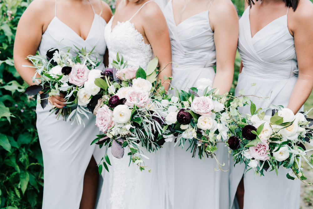 Blush and Plum Wedding Flowers - Stone House Creative