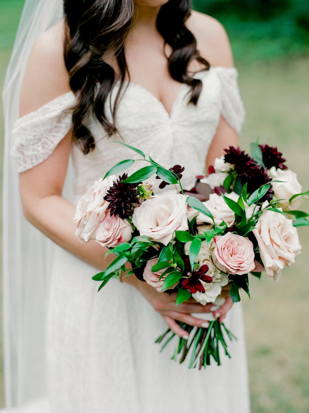 Blush and Berry Wedding Bouquet - Wedding Florists Winnipeg