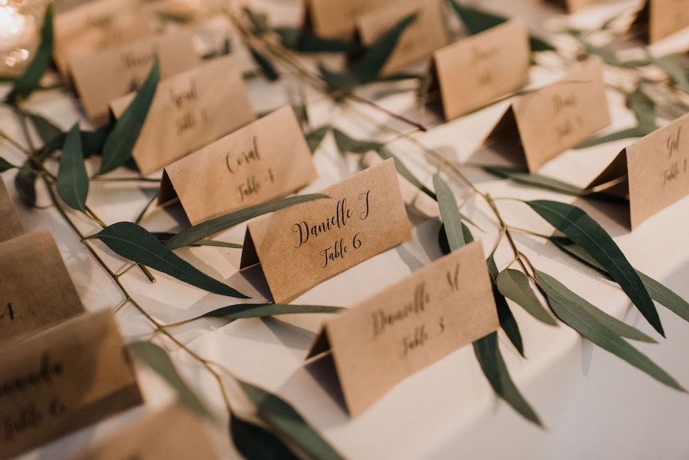 Craft Paper Escort Cards - Wedding Inspiration