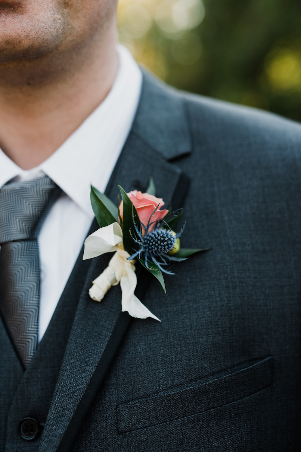 Peach Boutonniere - Winnipeg Wedding Florist