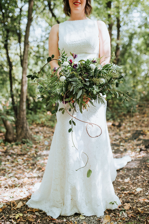 Textured Greenery Wedding Bouquet - Stone House Creative