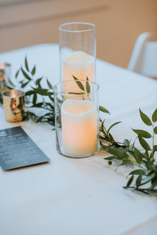 Greenery and Candle Centrepiece - Budget Friendly Wedding Winnipeg