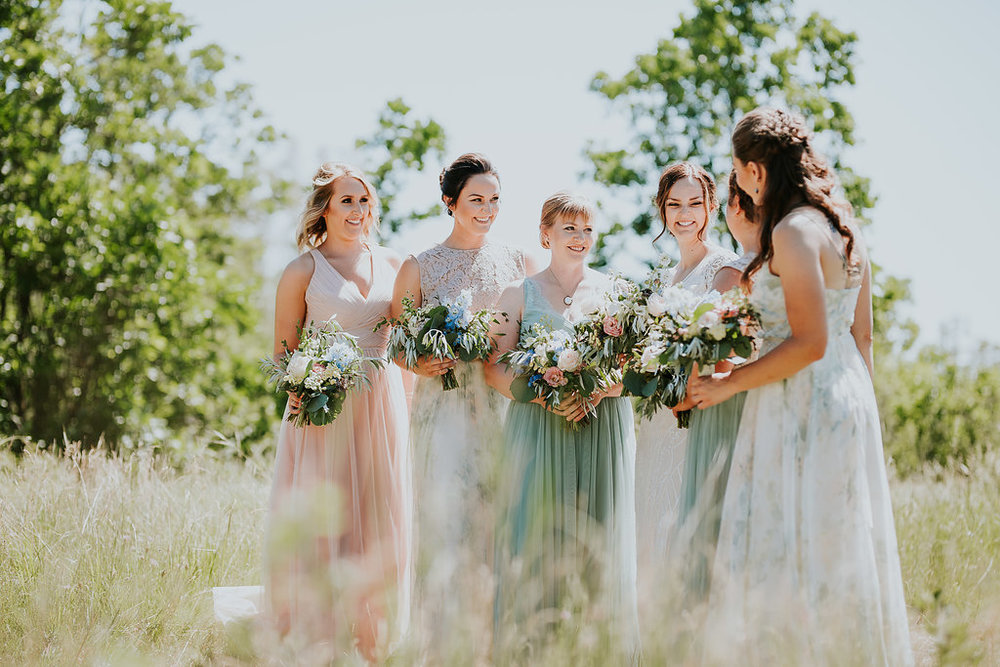 Mismatched Bridesmaid Dresses - Weddings at Pineridge Hollow