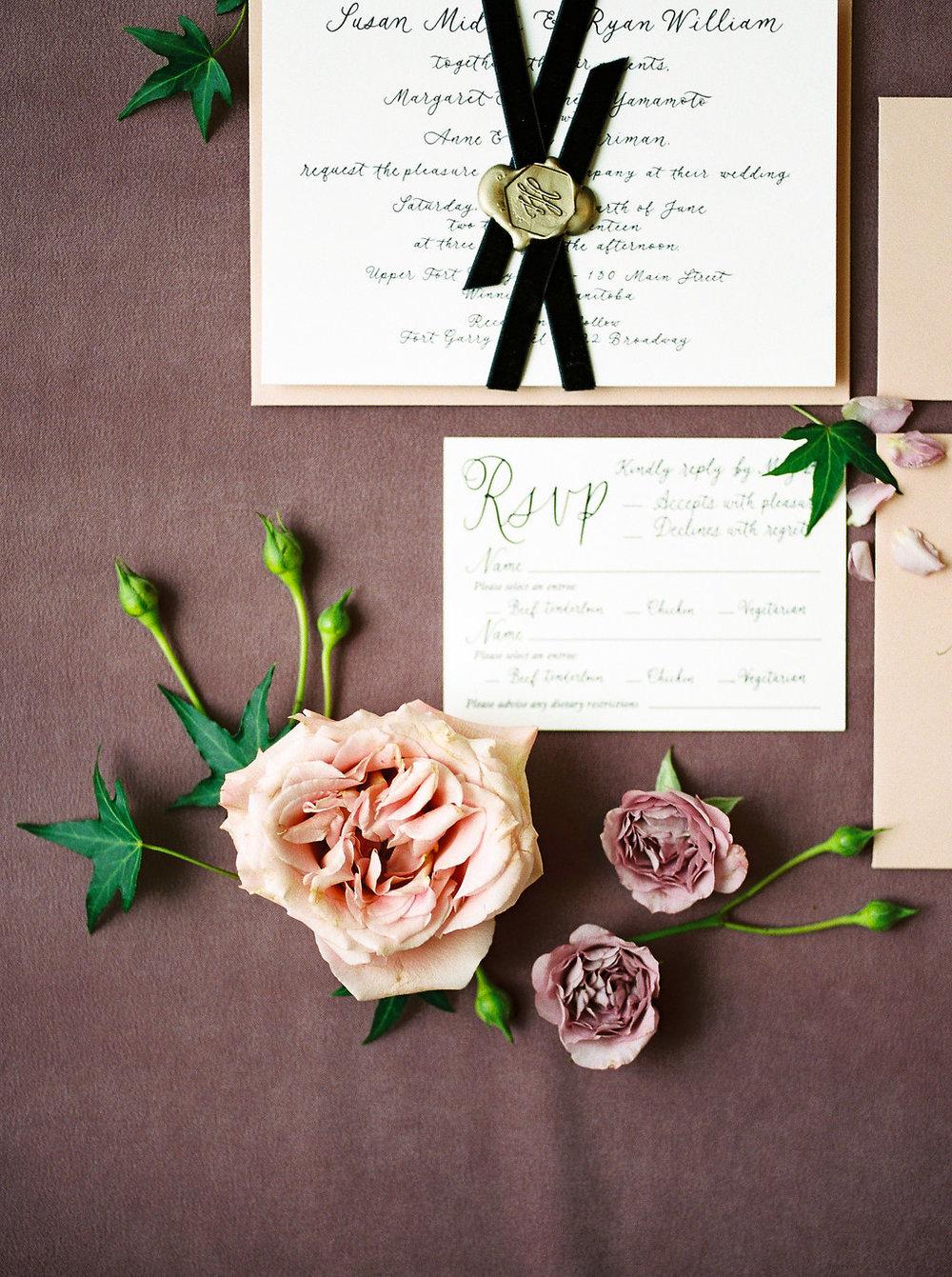 Feminine Winter Wedding Style - Calligraphy Wedding Invitations