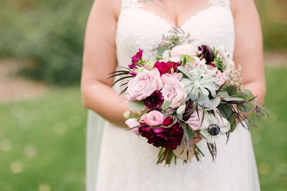 Plum and Blush Bridal Bouquet - Wedding flowers Winnipeg