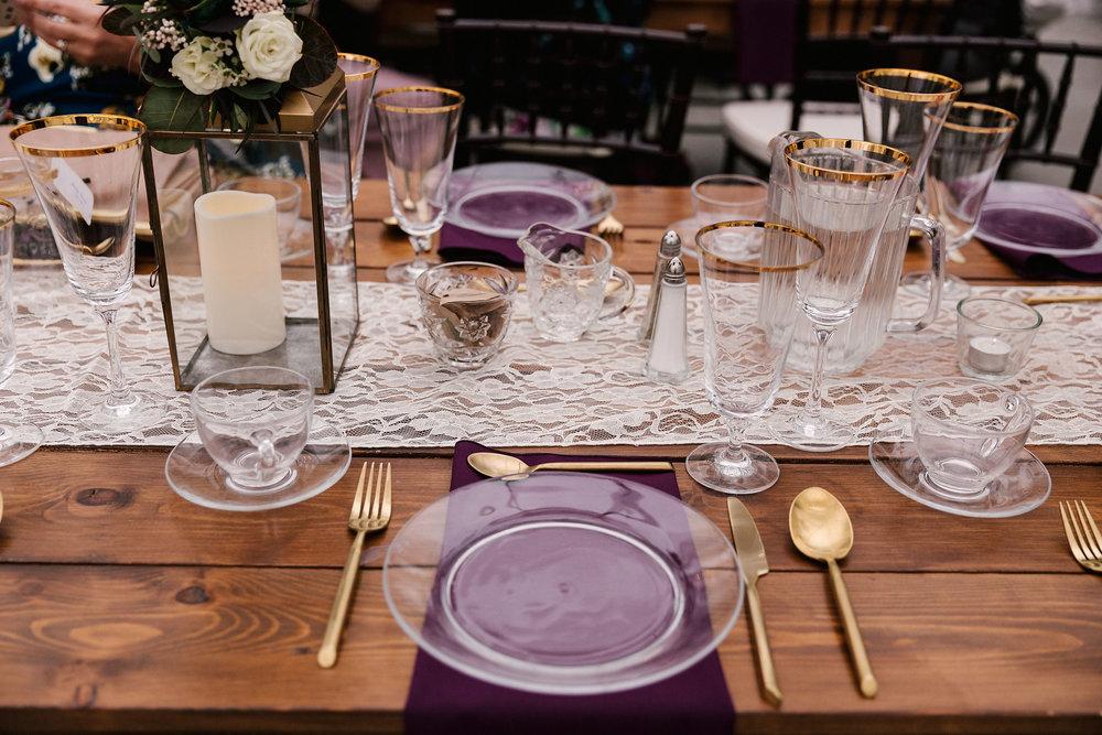 Gold and Plum Wedding Decor - Wedding Flowers in Winnipeg