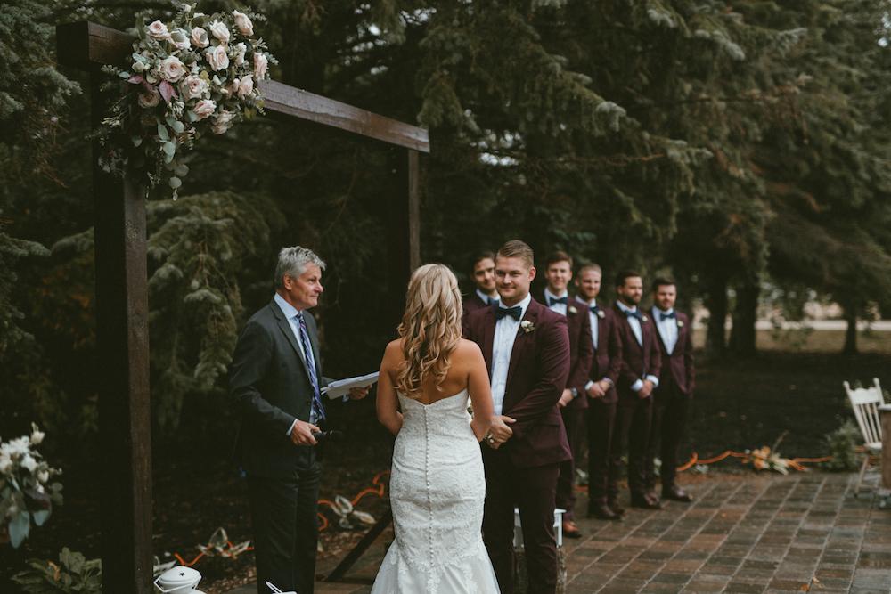 Rainy Outdoor Wedding Ceremony - Wedding Florists Winnipeg