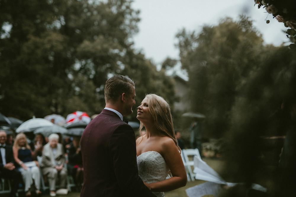 Rainy Wedding Ceremony Portraits - Ashgrove Acres