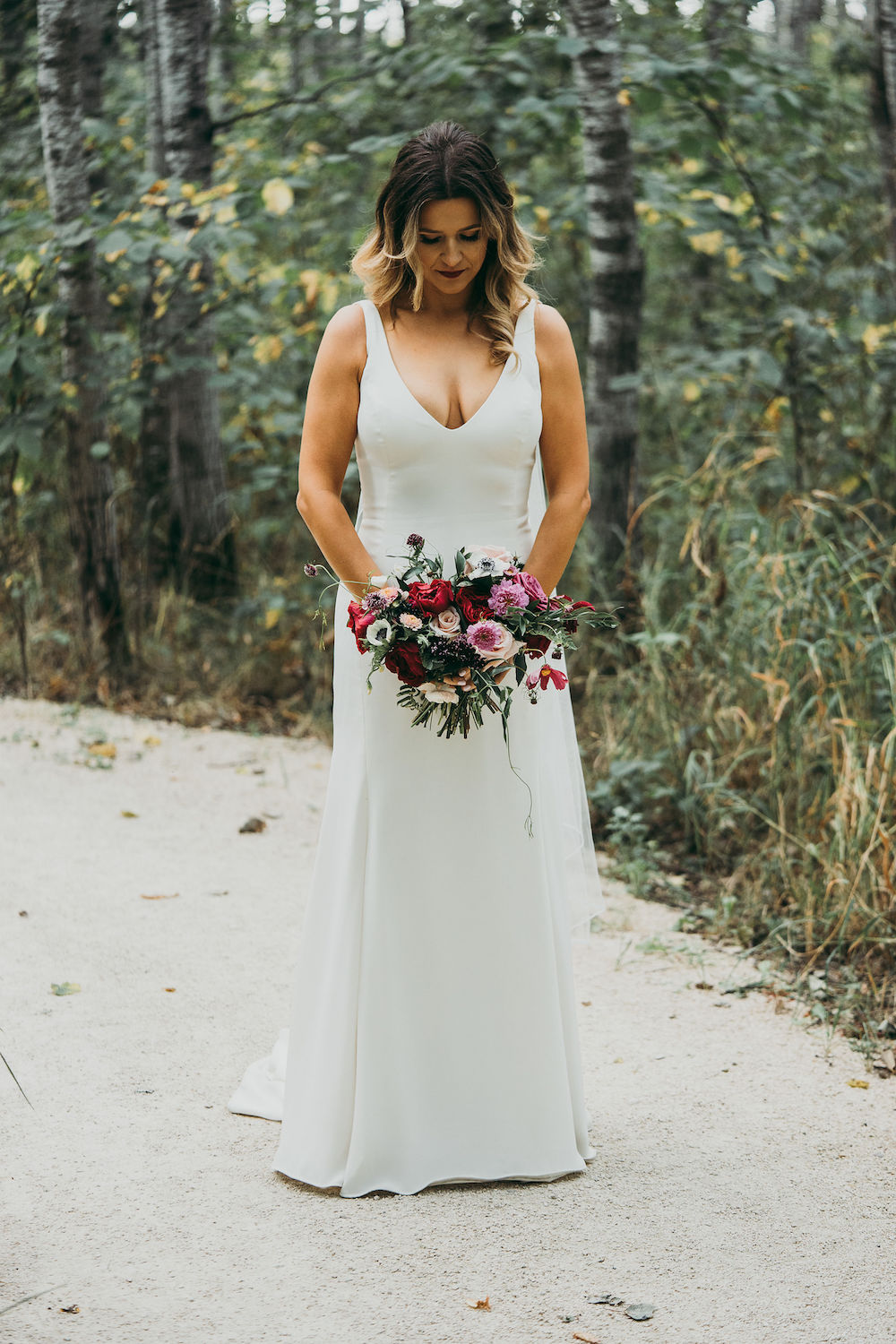 Berry and Blush Bridal Bouquet - Wedding Flowers Winnipeg