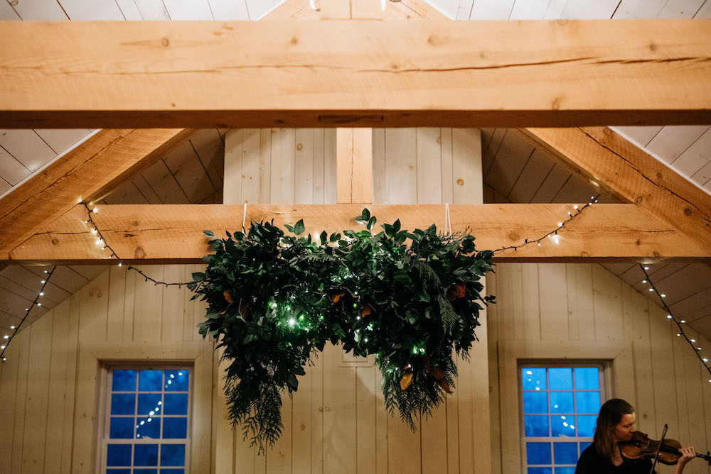 Hanging Greenery Installation - Winter Wedding Flowers