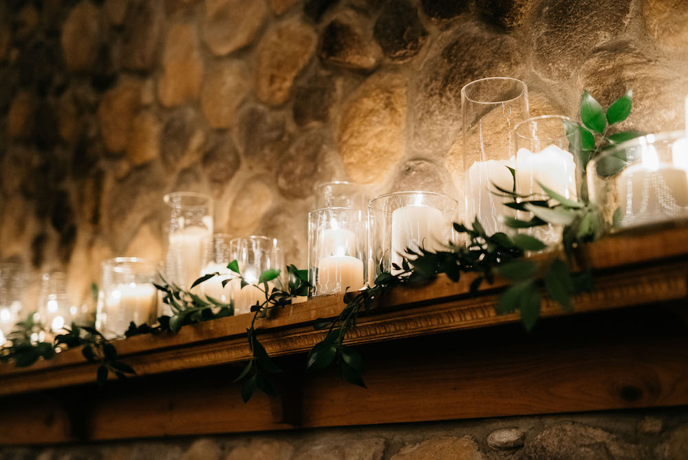 Candlelight Fireplace Mantle Wedding Decor - Fort Gibraltar Weddings
