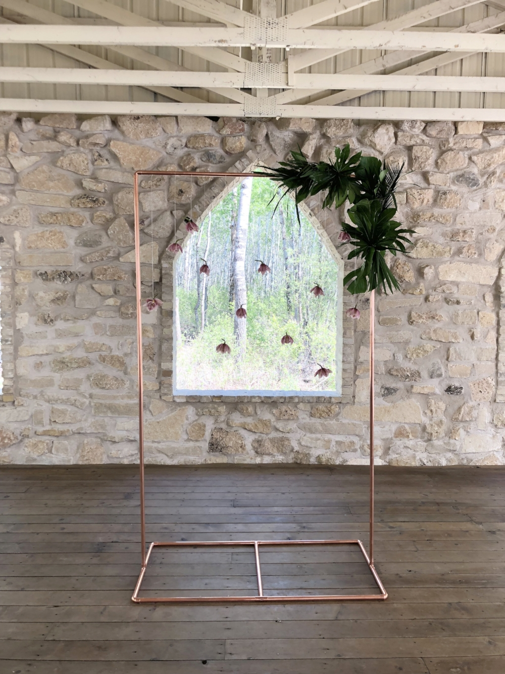 Copper Arch Wedding Ceremony Flowers - Stone House Creative