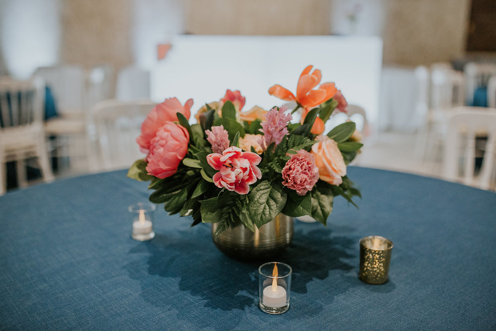 Coral Peony Wedding Centrepiece - Wedding Florist in Winnipeg