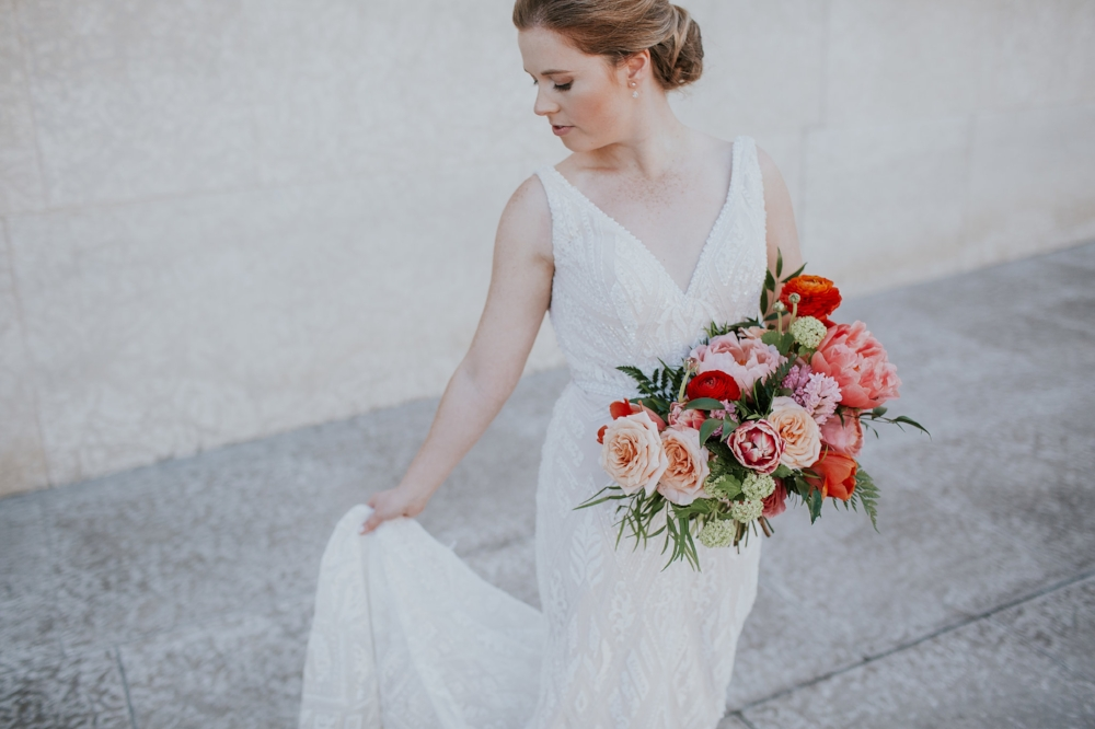 Coral and Peach Bridal Bouquet - Winnipeg Wedding Florist
