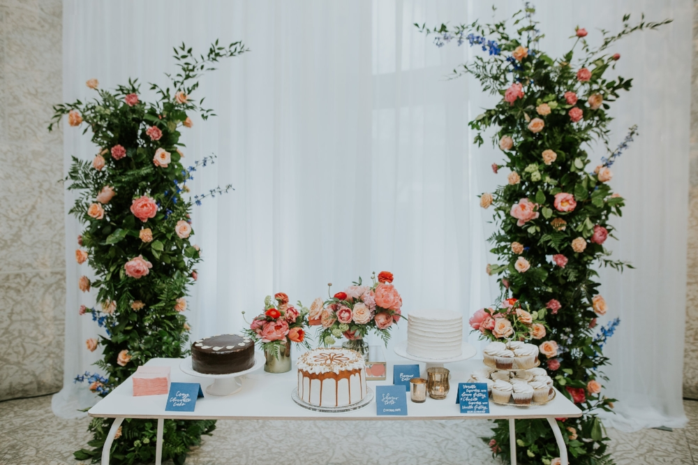 Floral Wedding Cake Table - Wedding Florists Winnipeg